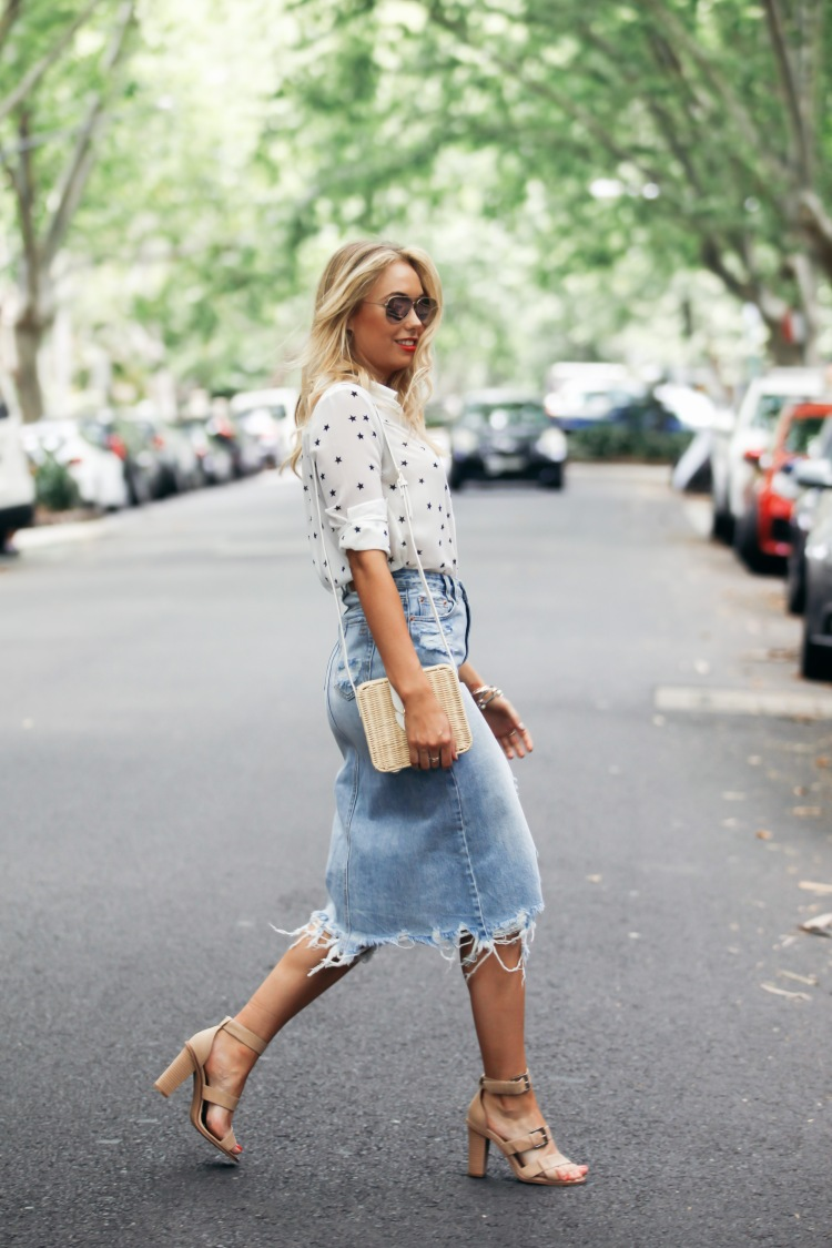 Ripped Denim Pencil Skirt